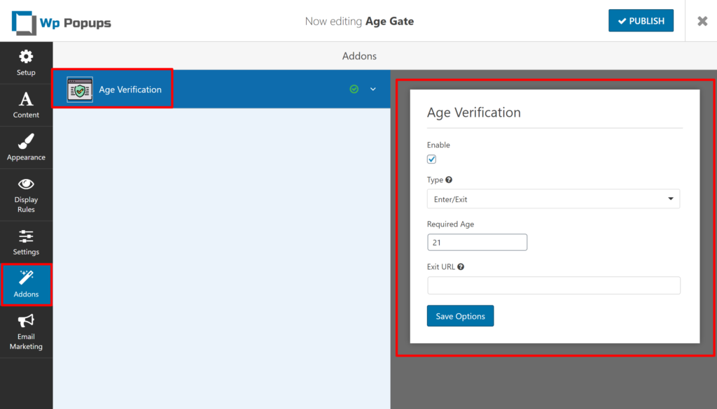 Configure age gate functionality