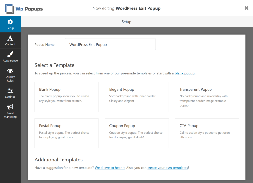 WordPress exit popup templates