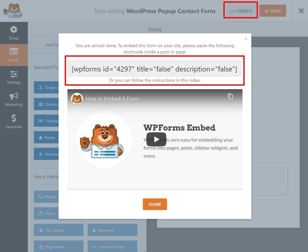 Embed WPForms