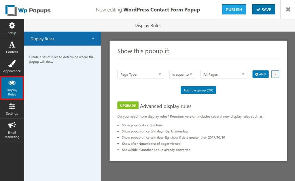 WP Popups display rules